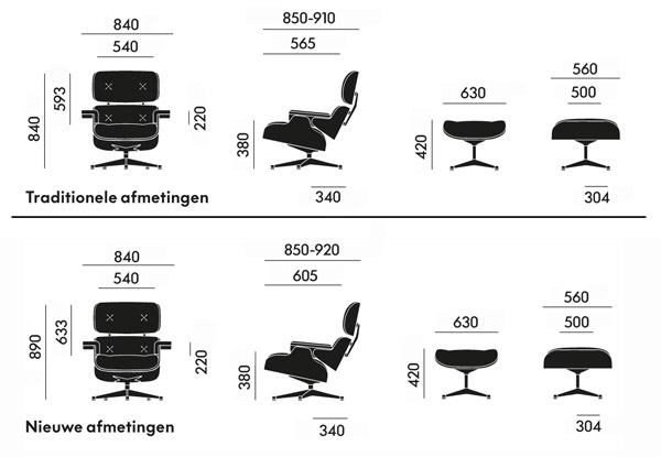 afmetingen vitra lounge chair
