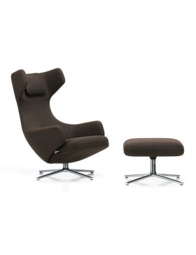 Vitra Grand-repos fauteuil in stof cosy donkerbruin